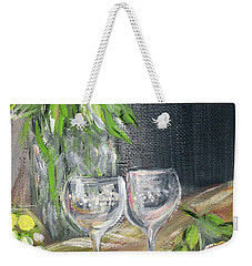 Still Life With Lemons, Roses  And Grapes. Painting Weekender Tote Bag