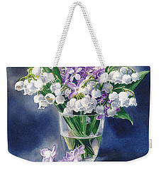 Still Life With Lilacs And Lilies Of The Valley Weekender Tote Bag by Sergey Lukashin