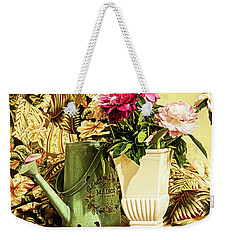 Weekender Tote Bag featuring the photograph Still Life With Peonies by Jessica Manelis