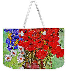 Still Life With Poppies And Blue Flowers Weekender Tote Bag