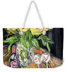 Still Life With Roses, Fruits, Wine. Painting Weekender Tote Bag