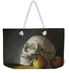 Weekender Tote Bag featuring the painting Still Life With Skull by Joe Winkler