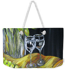 Still Life With Wine Glasses, Roses And Fruit. Painting Weekender Tote Bag