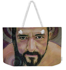 Weekender Tote Bag featuring the painting Still Wet Cristo Soto by Ron Richard Baviello