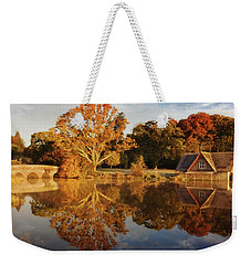 Weekender Tote Bag featuring the photograph Stone Bridge And Boat House - Kildare, Ireland by Barry O Carroll