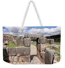 Weekender Tote Bag featuring the photograph Stone Doorway At Sacsaywaman by Aidan Moran