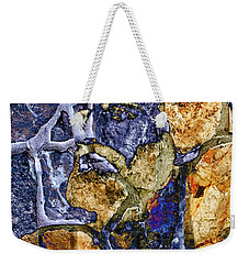 Weekender Tote Bag featuring the photograph Stone Man by Pennie  McCracken