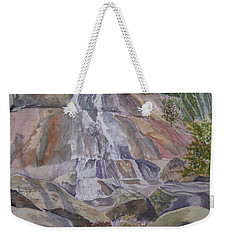 Weekender Tote Bag featuring the painting Stone Mountain Falls April 2013 by Joel Deutsch