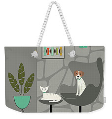 Stone Wall With Dog And Cat Weekender Tote Bag