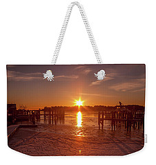 Stonington Harbor Sunset On Ice Weekender Tote Bag