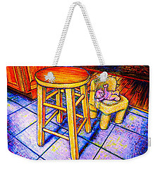 Weekender Tote Bag featuring the painting Stool by Viktor Lazarev