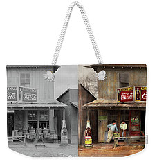 Weekender Tote Bag featuring the photograph Store - Grocery - Mexicanita Cafe 1939 - Side By Side by Mike Savad