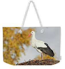 Stork On A Nest, Trees In The Background Weekender Tote Bag