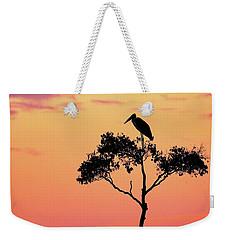 Stork On Acacia Tree In Africa At Sunrise Weekender Tote Bag