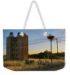 Weekender Tote Bag featuring the photograph Storks Near Setubal Portugal by Menega Sabidussi