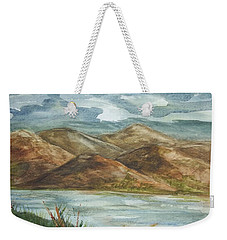 Weekender Tote Bag featuring the painting Storm Clouds by Ellen Levinson
