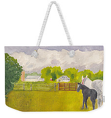 Storm Clouds Mare And Colt At Sunrise Weekender Tote Bag