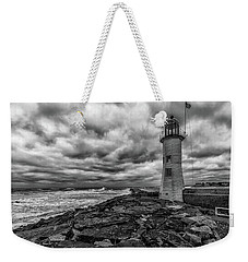 Storm Clouds Over Old Scituate Lighthouse In Black And White Weekender Tote Bag