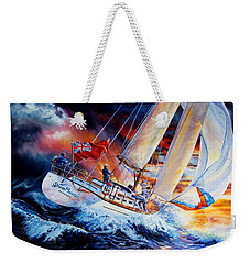 Weekender Tote Bag featuring the painting Storm Meister by Hanne Lore Koehler