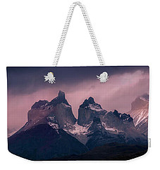 Weekender Tote Bag featuring the photograph Storm On The Peaks by Andrew Matwijec