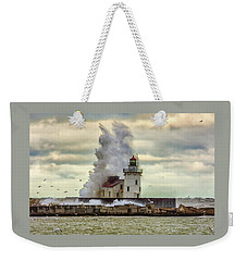 Storm Waves At The Cleveland Lighthouse Weekender Tote Bag