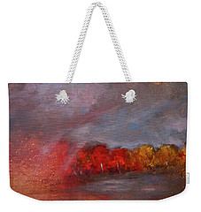 Stormy Fall Landscape Red Yellow Leaves Weekender Tote Bag