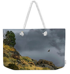 Weekender Tote Bag featuring the photograph Stormy Flight by Frank Wilson