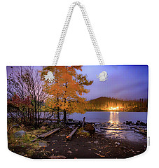 Weekender Tote Bag featuring the photograph Stormy Night At Round Lake by Cat Connor