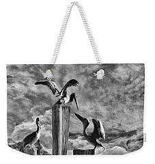 Stormy Pelicans Weekender Tote Bag