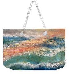 Weekender Tote Bag featuring the painting Stormy Seas by Kim Nelson