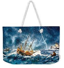 Weekender Tote Bag featuring the digital art Stormy Seas by Pennie McCracken