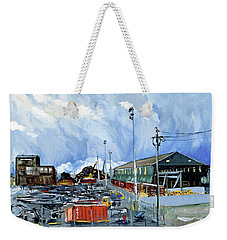 Stormy Sky Over Shipyard And Steel Mill Weekender Tote Bag by Asha Carolyn Young