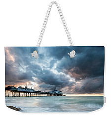 Stormy Sunrise Over Eastbourne Pier Weekender Tote Bag