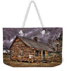 Weekender Tote Bag featuring the photograph Stormy Times Tenant House Greene County Georgia Art by Reid Callaway