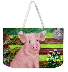 Weekender Tote Bag featuring the painting Storybook Pig by Sandra Estes