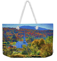 Weekender Tote Bag featuring the photograph Stowe Vermont Church In Fall by Jeff Folger