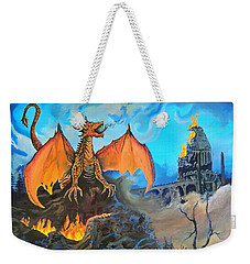 Weekender Tote Bag featuring the painting Straight To The Casttttle by Kevin F Heuman