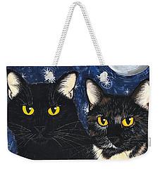 Strangeling's Felines - Black Cat Tortie Cat Weekender Tote Bag by Carrie Hawks
