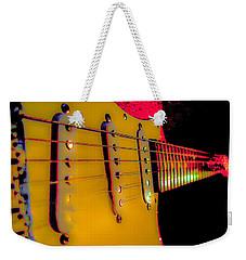 Weekender Tote Bag featuring the photograph Guitar Pop Art Hot Rasberry Fire Neck Series by Guitar Wacky