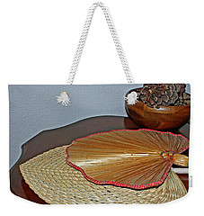 Weekender Tote Bag featuring the photograph Straw Fans by Judy Vincent
