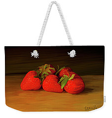 Strawberries 01 Weekender Tote Bag by Wally Hampton