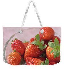 Strawberries Weekender Tote Bag by Rachel Mirror