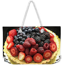 Weekender Tote Bag featuring the photograph Strawberries Rasberries Luscious Dessert Fruit Pie With Red Bow  by Kathy Fornal