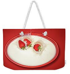 Strawberries Splashing In Milk Weekender Tote Bag