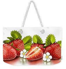 Strawberries Weekender Tote Bag by Veronica Minozzi