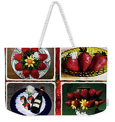 Weekender Tote Bag featuring the photograph Strawberry Collage by Sally Weigand
