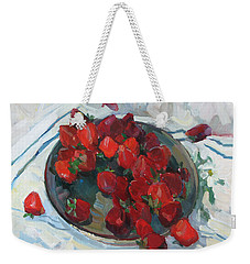 Strawberry On White Weekender Tote Bag