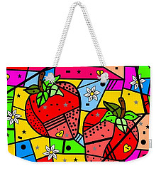 Weekender Tote Bag featuring the digital art Strawberry Popart By Nico Bielow by Nico Bielow