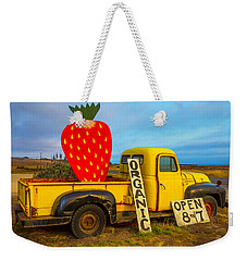 Strawberry Sign In Pickup Truck Weekender Tote Bag by Garry Gay