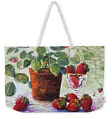 Weekender Tote Bag featuring the painting Strawberry Still Life by Marlene Book